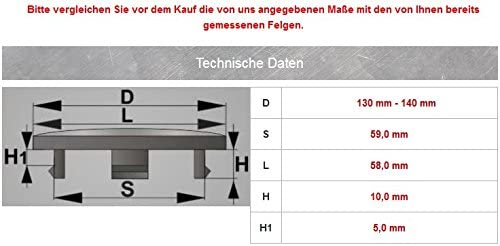 4x Nabenkappen 140 Mm 59 Mm Nabendeckel Für Audi Universal Kappen 140 0 59 0 Mm Deckel Felgendeckel Auto