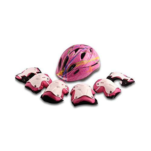 (FH Children's Armor Boy Girl Bicycle Armor Child Armor with Knee/Elbow/Wrist Pad Bicycle Scooter - 7 Pieces (Color : Pink))