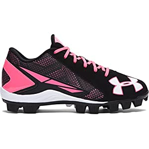 Under Armour Kids Unisex UA Leadoff Low RM Jr. Baseball (Toddler/Little Kid/Big Kid) Black/Cerise Sneaker 6 Big Kid M