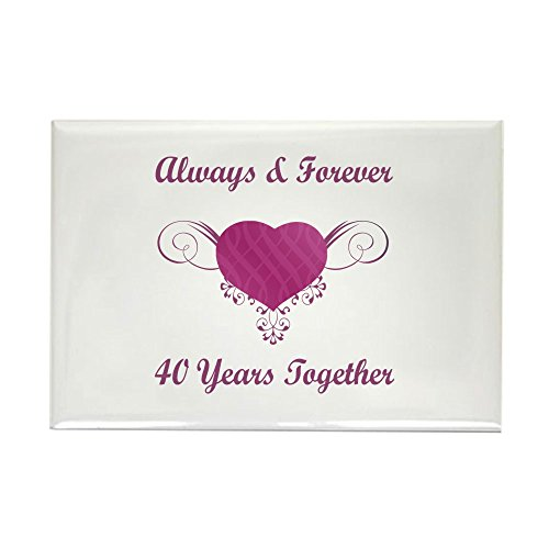 CafePress 40th Anniversary Heart Rectangle Magnet Rectangle Magnet, 2