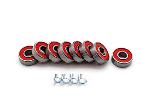 skateboard bearing spacer. abec-7 skateboard bearings w/ heavy duty metal spacer and super titanium ( silver / red ) bearing d