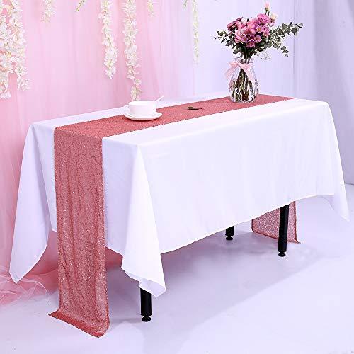 (TRLYC 12 x 120 Inch Blush Sequin Table Runner,Sequin Tablerunner Blush)