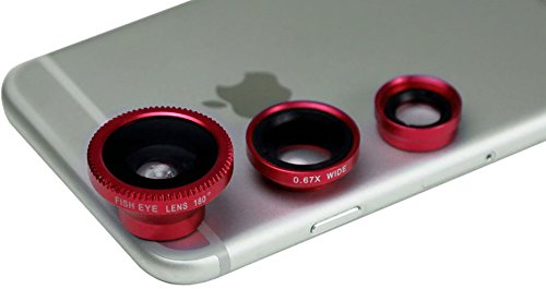 3-in-1 Clip Lens for Mobile Phones and Tablets Set of 2 (Red) - 2