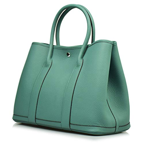 - Esyuel Women's Genuine Leather Garden Tote Bag Top Handle Handbags(36CM) (Lake Green)
