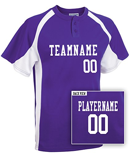 Youth Custom Baseball 2-Button Jersey, Personalize with YOUR Names & Numbers-M (Heavyweight Two Button Jersey)