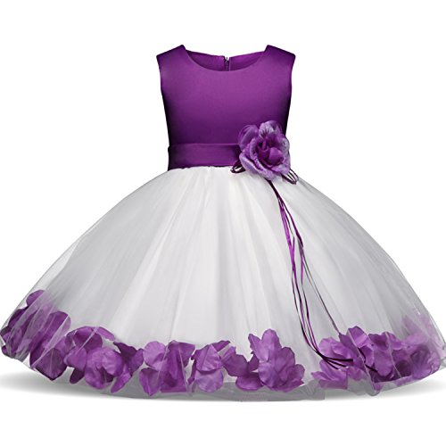 NNJXD Girl Tutu Flower Petals Bow Bridal Dress for Toddler Girl Size(XL) 19-24 Months Purple (Rose Flower Girl Dress)