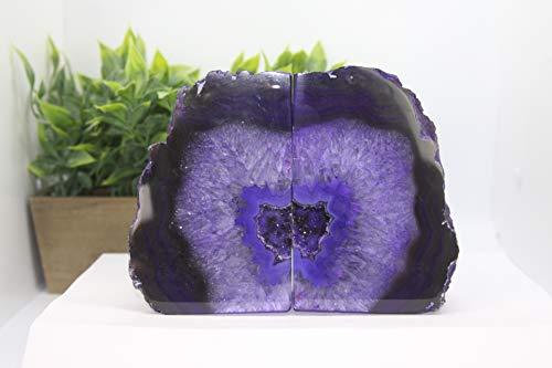 Mineral America Natural Agate Bookend, Agate Bookend, Polished Bookend, Bookends, Polished Stones (Purple)