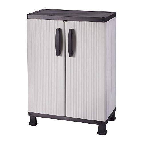 (HDX 36 in. H x 27 in. W 15 in. D Plastic 2 Shelf Multi-Purpose Base/Wall Cabinet in Gray)