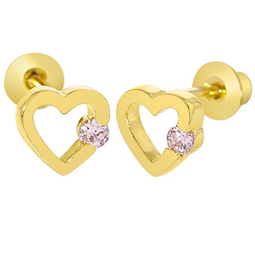 18k Yellow Gold Plated Small Pink Crystal Heart Screw Back Earrings for (18k Yellow Gold Heart Earrings)