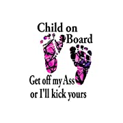 Child on Board/ Muddy Camo feet / Text Is White