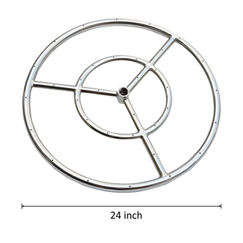 Onlyfire 24-inch Stainless Steel Round Fire Pit Burner Ring, Double Ring Fire Rings Pits