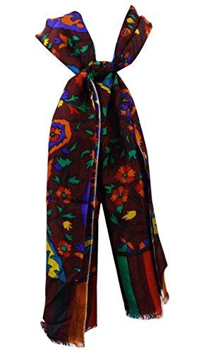 Foulard Écharpe Aboutyou En Floral Rectangle Imprimé Orange Pouces Femmes Pure Longue 29