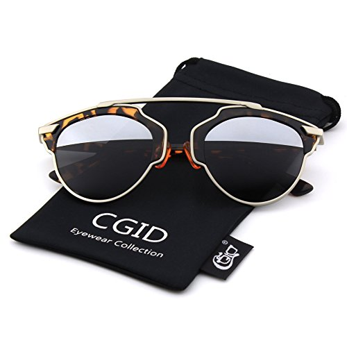 CGID Modern Fashion Polarized Pantos Shape Bar Brow Full Metal Rimmed Aviator Sunglasses,Tortoise - Sunglasses Brow Bar