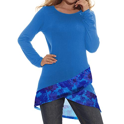 Sufiya Casual Tops for Women Flowy Tunic A Line Asymmetric Hem Top Shirt Blue Large