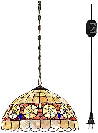 ANYE Tiffany Style 12in. Wide Pendant Ceiling Light 20 Ft Plug in Cord and On Off Dimmer Switch Multi-Colored Glass Shade Pearl Shell 1-Light Pharbitis E26 Handmade Shade TB0858-6M