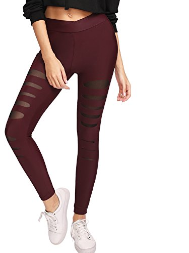 SweatyRocks Legging Women Grey Knit Mesh Insert Ripped Tights Yoga Slim Pants Burgundy L Burgundy Insert
