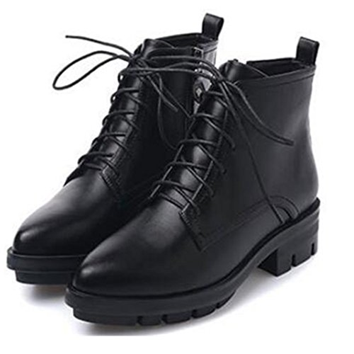 Aksautoparts Autumn winter short women boots retro casual shoes Thick heels Martin boots Black Pie7b9
