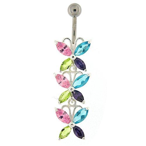 Coloré Multi couleur cristal Pierre fantaisie Triple papillon argent 925 Sterling avec anneau de nombril en acier inoxydable