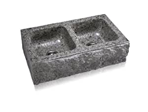 Lenova SA-202D-Chiseld Stone Chiseled Apron Front Equal Double Bowl Kitchen Sink, Marble