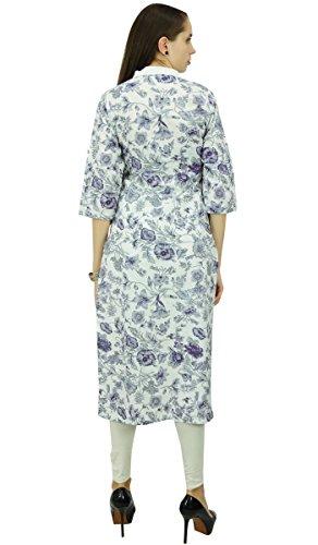 Diseñador Phagun patrón floral étnico kurta algodón superior de la túnica vestido Kurti Azul marino y blanco