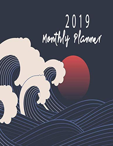 2019 Monthly Planner: Schedule Organizer Beautiful Black wave background in Japanese style Cover Monthly and Weekly Calendar To do List Top goal and Focus (Planner 2019)]()