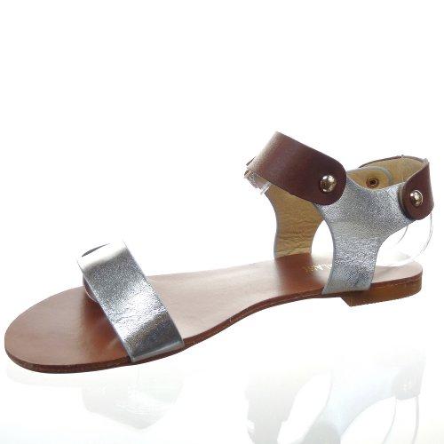 Kickly-Sandale zapatillas modo-Chanclas tobillo mujeres Clouté talón-1 CM, interior de piel sintética, color plateado y dorado