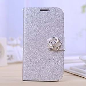 WQQ la moda de la PU de los diamantes de impresión de seda de cuero camelia caso de cuerpo completo con soporte para Samsung i9500 galaxy s4 (colores , Silver