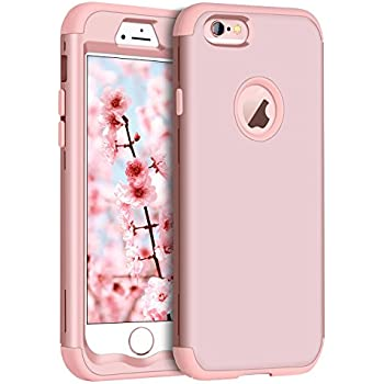 ced86c889a iPhone 6 Case, iPhone 6S Case, BENTOBEN Shockproof 3 in 1 Hybrid Hard PC  Soft Silicone High Impact Resistant Bumper Anti Slip Full-Body Protective  Phone ...