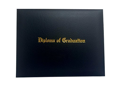 Certificate Cover Imprinted 'Diploma Of Graduation' Faux-leather Diploma Holder 8.5' x 11' Grad Days(Black)