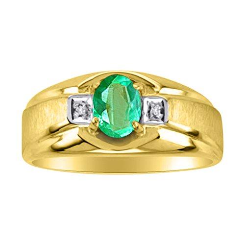 Mens Ruby & Diamond Ring 14K Yellow Gold Band