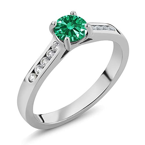 925 Silver Engagement Ring White Created Sapphire and Set with Green Zirconia from Swarovski (Size 7)