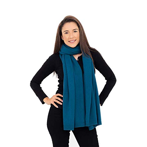 100% Cashmere Wrap Shawl Scarf for Women - Pure Luxury Knit - Lightweight, Ultra Soft and Warm includes Beautiful Silk Gift Bag (Sea Green)