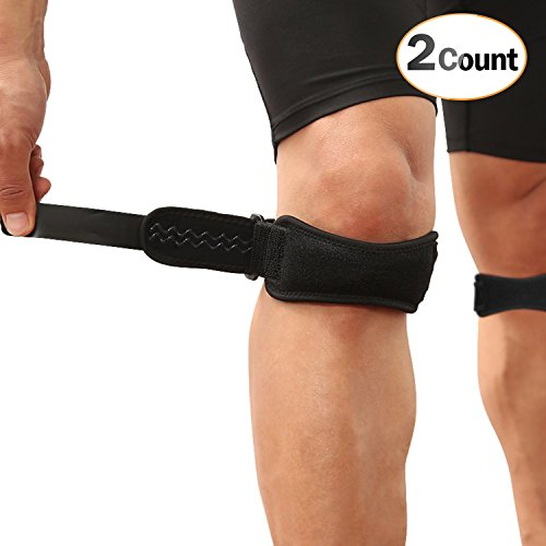 AGPTEK 2 Pack Patella Knee Strap, Anti-slip Knee Pain Relief Band with Silicone Pad,Pain Relief for Basketball Volleyball, Running, Hiking Gear, Tennis etc, both for Men and Women, Black by AGPTEK