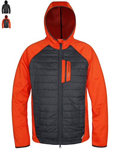 Lesmart Men's Insulated Rain Softshell Jacket Thermal Training Fleece Coat Size M Orange
