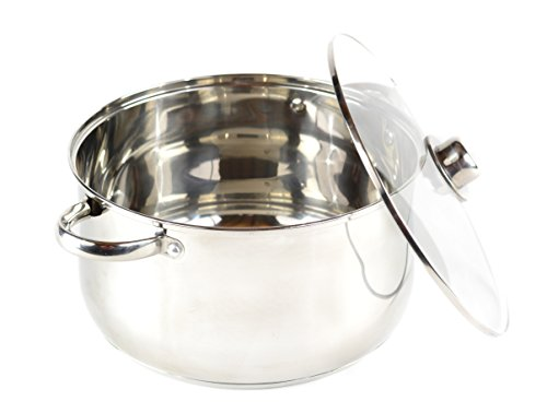 (Gourmet Chef 8-Quart Stainless Steel Stock Pot with Glass Lid Kitchen Basics For Home and Restaurants - Large Stockpot with Capsulated Base, Vented Hole on Cover, and Non-heat Riveted Handles)