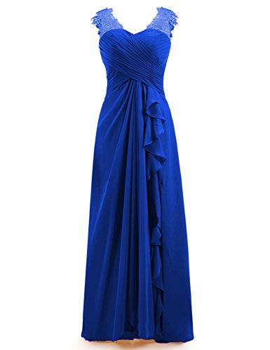 Miao Duo Women's Maxi Lace Applique Sweetheart Wedding Party Dresses Long Chiffon Pleated Formal Gowns Royal Blue 10 ()