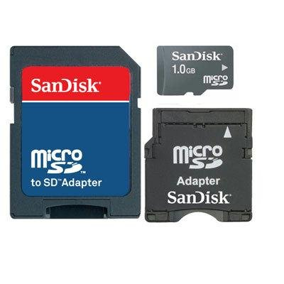 SanDisk 1GB Micro SD Card with SD Adapter & Mini SD 3-in-1 Memory Kit (Microsd Card 1gb)