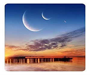 Decorative Mouse Pad Art Print Landscape and Plants Three Moons