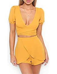 NANYUAYA Women's 2 Piece Solid Color Short Sleeve Crop Top with Shorts Set