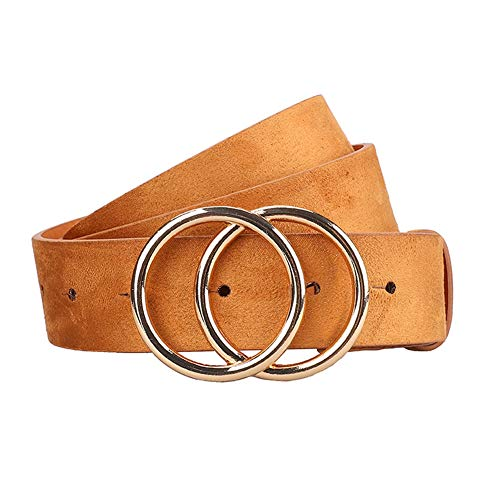 - NEW OOPS Double Circle Women's Leather Belt Soft Faux Leather For Jeans Trendy Waist Belts (Khaki, M)