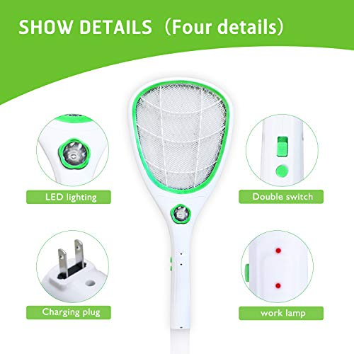 Tlanpu Bug Zapper-Rechargeable Electric Mosquito Swatter,Fly Killer Bug Zapper Racket,3000Volt,Super-Bright LED Light to Zap in The Dark,Unique 3-Layer Safety Mesh by Tlanpu (Image #1)