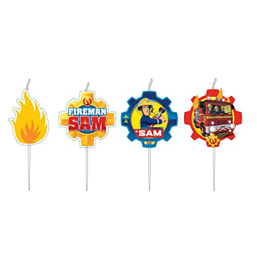Amscan Fireman Sam Birthday Cake Candle Set x 4