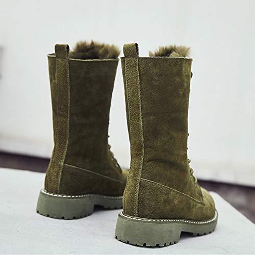 Up caldo Martin spessa Calf Lace in Stivali da neve Inverno Green Donna peluche Mid pelle qn1wxFB1