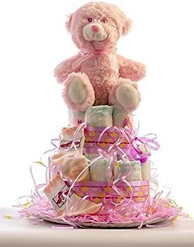 Flores AVRIL ofrece: tarta de pañales para bebé niña. Un regalo original para el bebé recién nacido, incluyendo 20 pañales de la marca DODOT más peluche más calcetín más toalla facial
