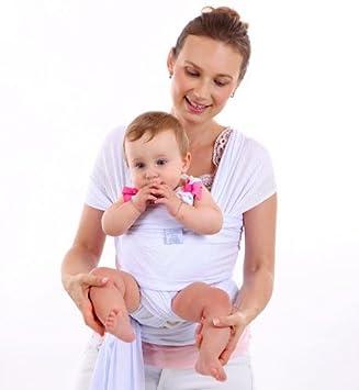 CETTICII Echarpe de portage bébé, blanche, porte bébé en coton très léger  pour un 8e8c545470e