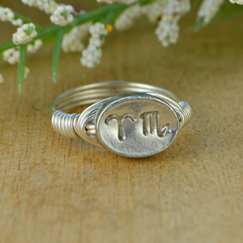 - Any Two Zodiac Signs Sterling Silver, Yellow or Rose Gold Filled Wire and Pewter Bead Wire Wrapped Ring- Custom made to size 4-14