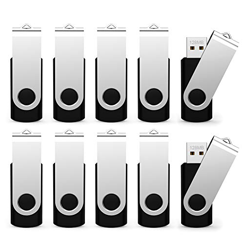 ALMEMO 10 Pack 128MB Bulk Pack USB 2.0 Flash Drives Swivel Thumb Drive Memory Stick, Black [Not 128GB]
