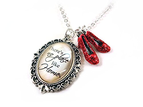 Wizard of Oz Charm Necklace There's No Place Like Home & Dorothy's Ruby Red Slippers