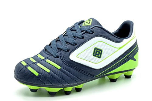 DREAM PAIRS 151028 Boy's Athletic Light Weight Lace Up Outdoor Fashion Sport Cleats Soccer Shoes (Toddler/Little Kid/Big Kid) Navy-Wht-N.Green Size 11