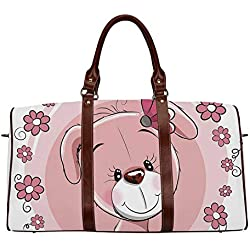 "Dog Women's Travel Bag,Cute Little Puppy with Daisy Flowers Cheerful Adorable Pet Girls Room Decor for Ladies,18.62""L x 8.5""W x 9.65""H"